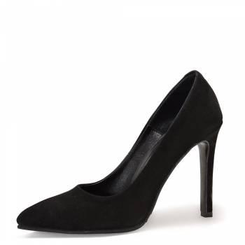 Замшевые туфли на шпильке. Черные.